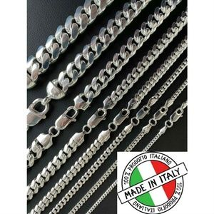 Harlembling 925 Silver 2-12mm Cuban Chain Necklace